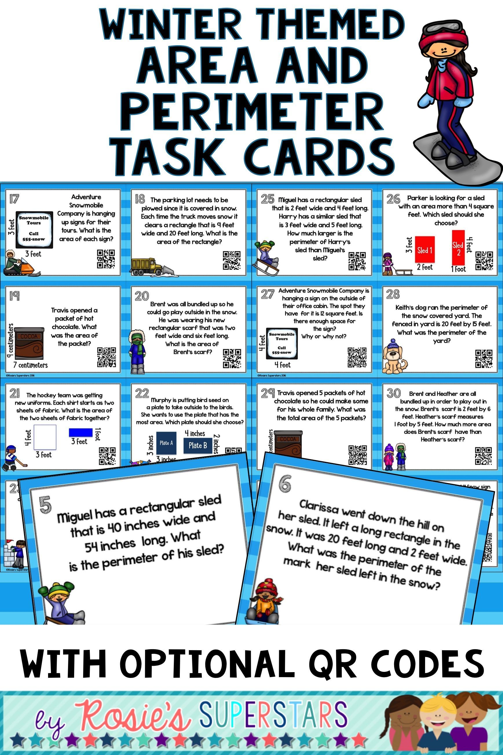 Winter Themed Area And Perimeter Task Cards With Optional