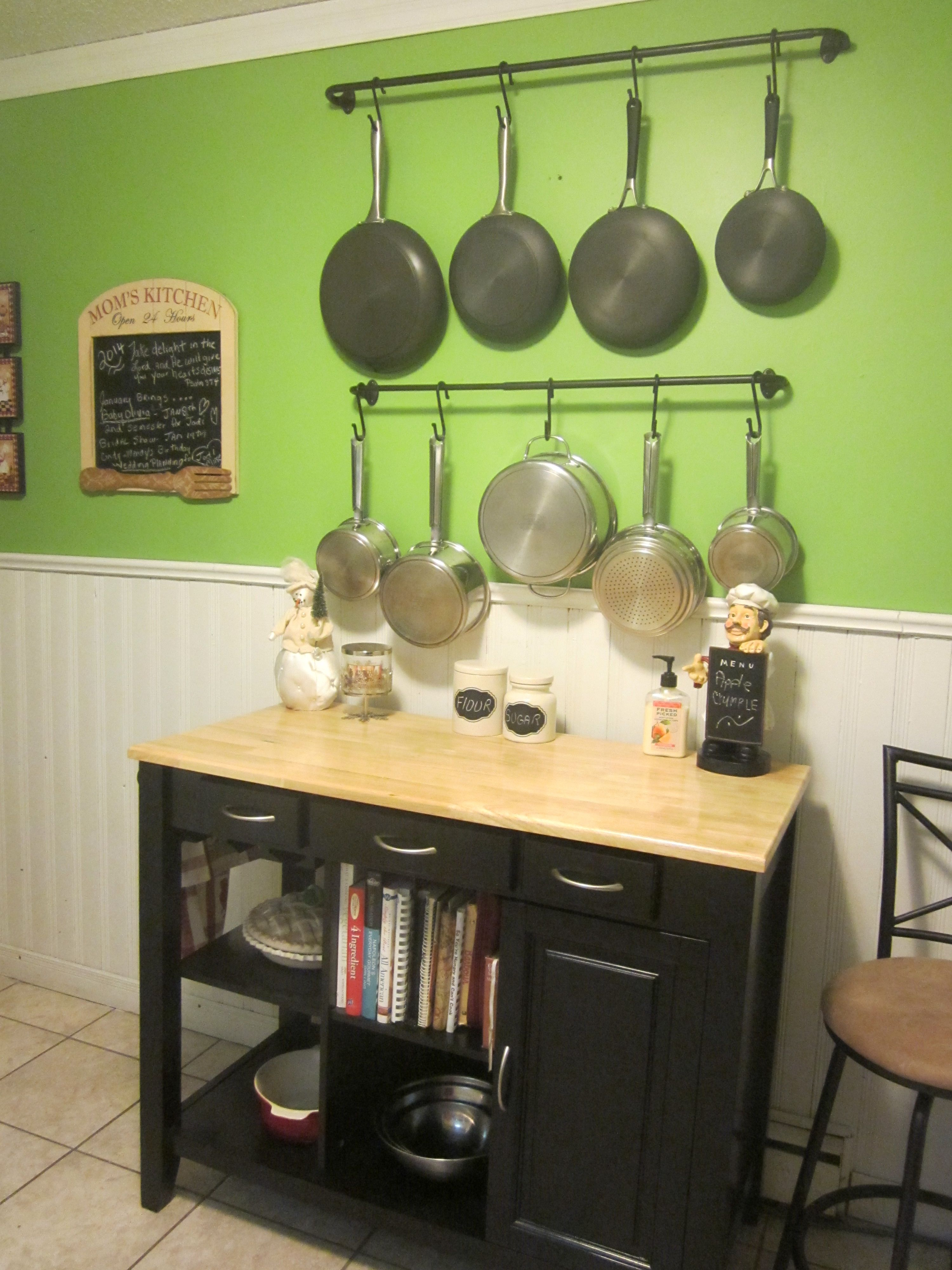 update on my diy pot holders and kitchen island Just added a hanger