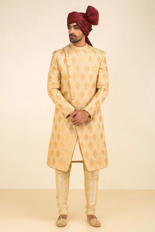 4037676f84 EKAKSH golden sherwani with cross-over front and golden chudidar