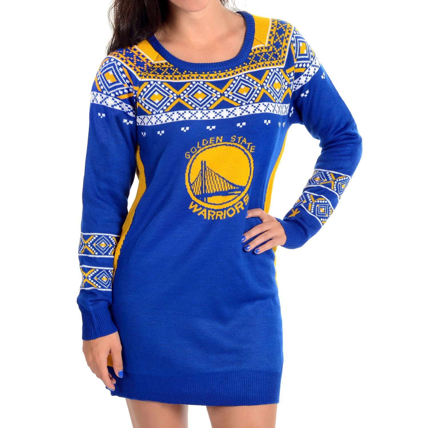Klew Golden State Warriors Women s Royal Ugly Sweater Dress