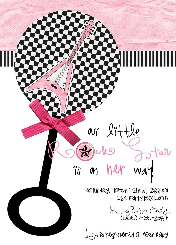 Little Rock Star Baby Shower Invites (20 printed)   Girl Invite ...