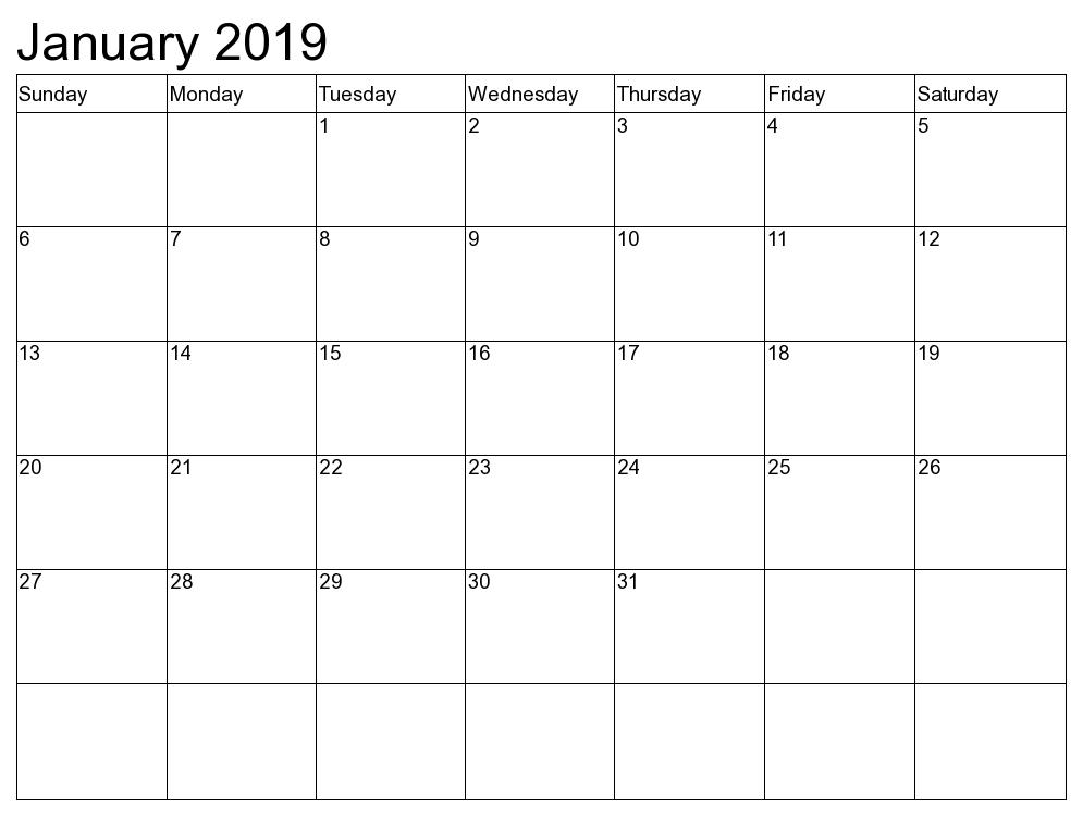 Blank Calendar Template January 2019 January2019 January