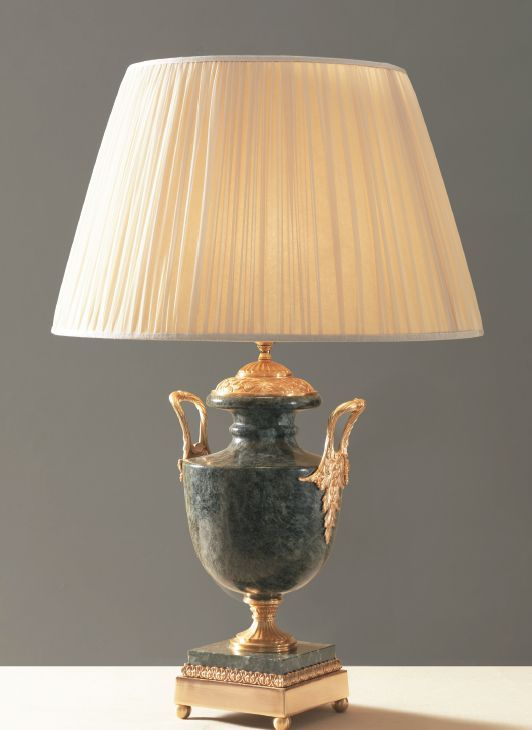 A Classic Black Marble Table Lamp With 24 Carat Gold Plating And