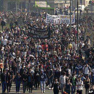 Protesta de estudiantes en Santiago de Chile