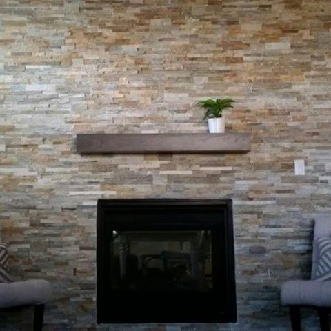 Simple grey mantel.  Cherry wood with a custom grey stain.  Love the simplicity of this space! #cherrywood #cherrymantel #customcornersllc #customcorners #fireplacemantel #stonefireplace #mantelpiece #mantel #mantle #mantlepiece #greymantel #etsy #etsyshop #etsygifts