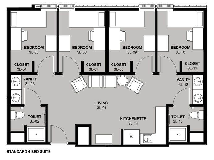 4 Bed Suite Jpg 692 518 Plan Obshezhitiya Proektirovanie Doma Obshezhitie