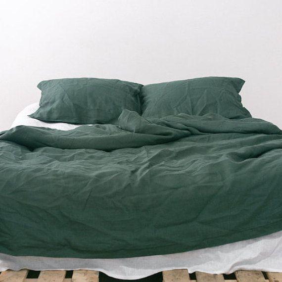 Emerald Natural Linen Bedding Set Dark Green Duvet Cover Us Twin