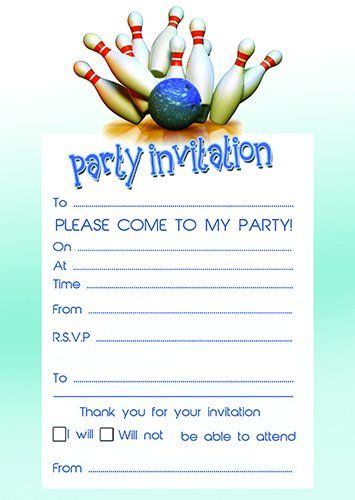 Bowling Party Invites Pack Of 20 With Envelopes Toppers And