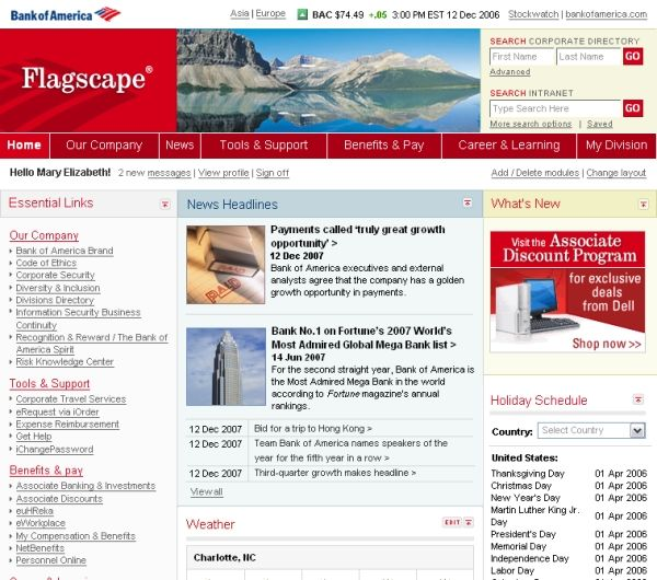 Bank Of America Employee Discounts >> Bank Intranet Portal Designs Design Favorites Portal Design