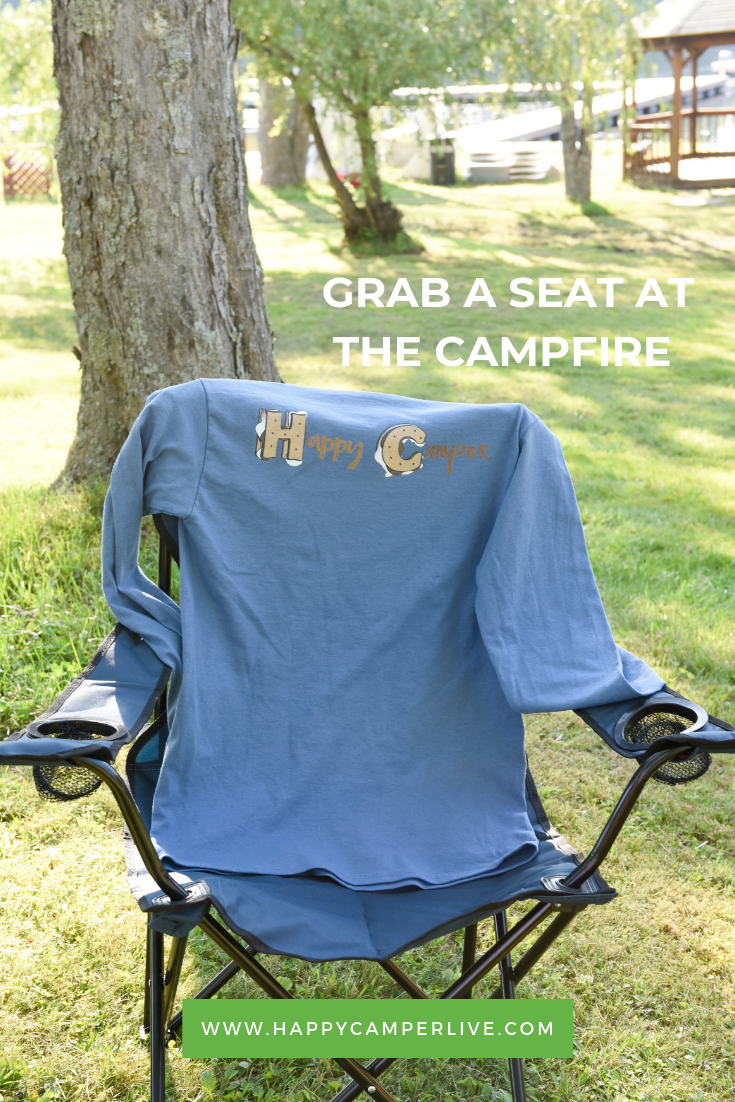 HAPPY CAMPERS STAY WARM AT THE CAMPFIRE. SHOP AT THE CAMP