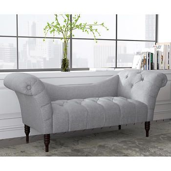 Aberdeen Tufted Settee In Pumice Furniture Tufted