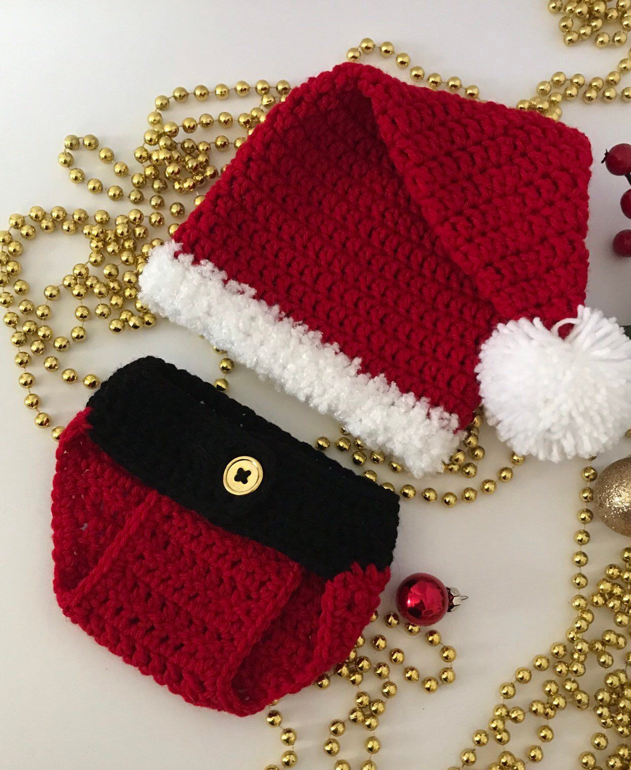 e95e7d5c563 Excited to share this item from my  etsy shop  Crochet Santa Hat with  Diaper Cover