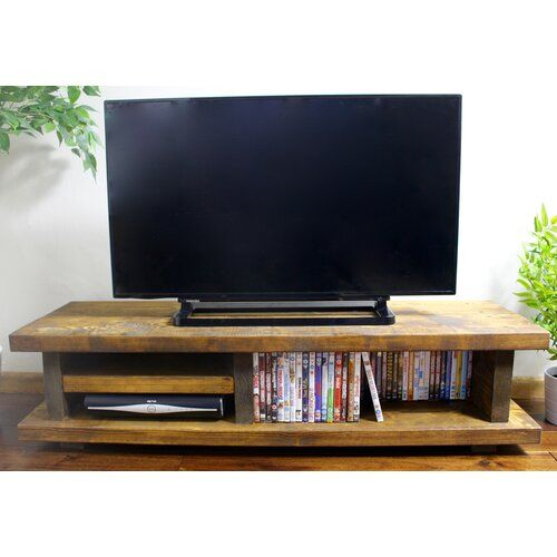 Chunky Rustic Tv Audio Unit Cabinet Solid Wood Oak Stain