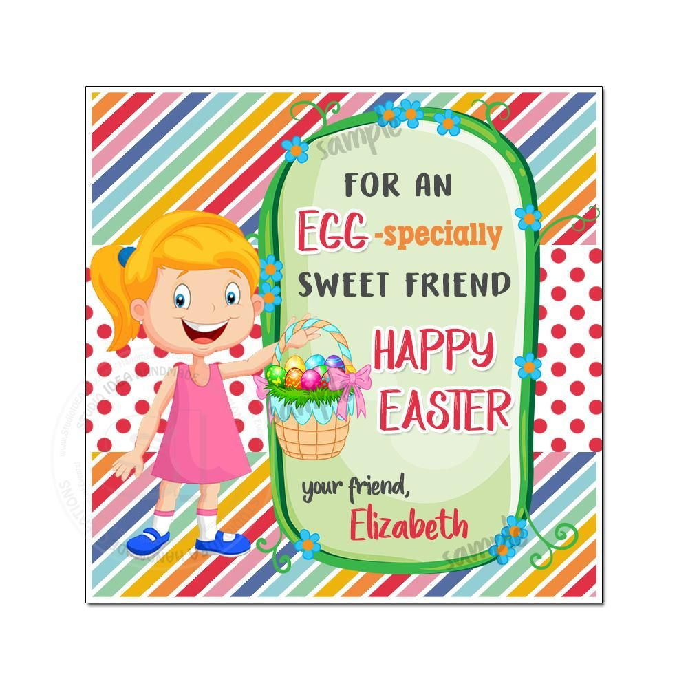 Easter custom printable 2 5 girl tags personalized happy easter 2 5 inches tags party favor diy stickers tags digital file