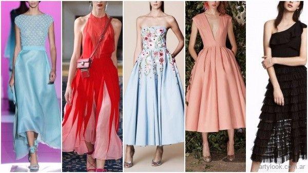 Tendencias de moda - Vestidos de fiesta falda Midi primavera verano 2018  7982ffe0b22e