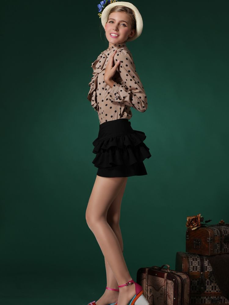 Cute Khaki Polka Dot Falbala Shirt | Choies