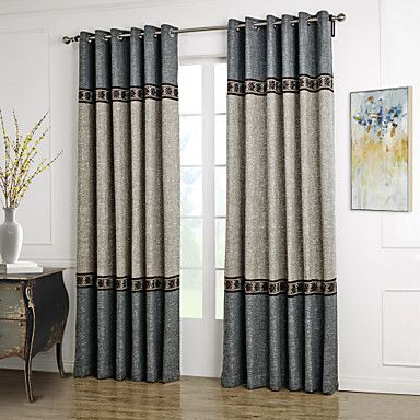 Two+Panels+Neoclassical+Solid+Blue+/+Grey+Living+Room+Polyester+Curtains+Drapes+–+USD+$+61.19
