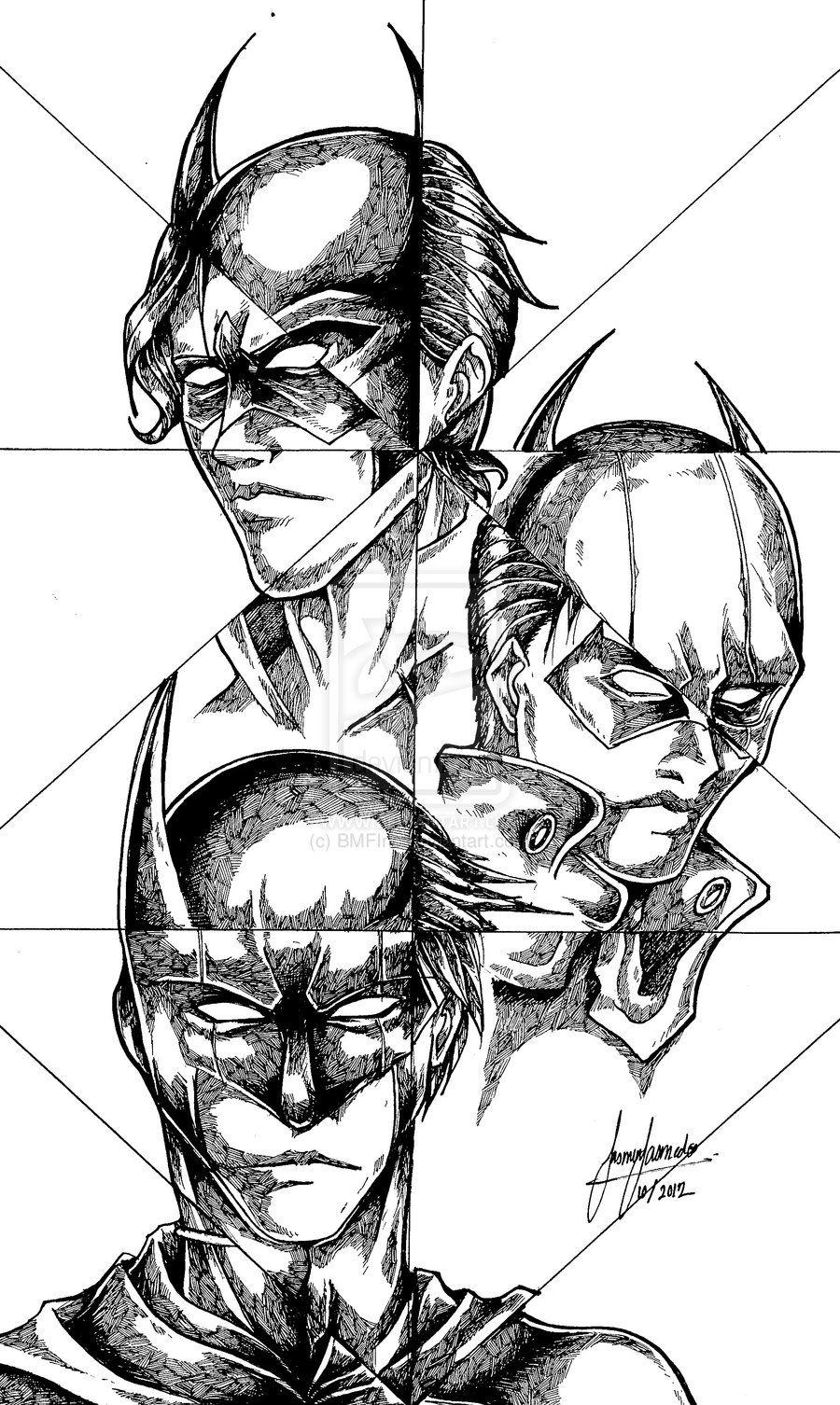 Batman Robin Nightwing Red Hood Drawing