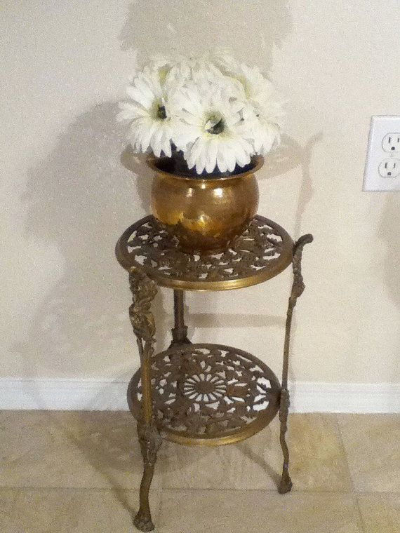 Vintage Brass Victorian Plant Stand Table With Grapes