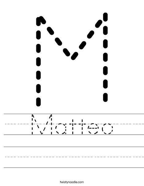 Matteo Worksheet Name Tracing Worksheets Handwriting Worksheets Tracing Worksheets Name tracing sheets for kindergarten
