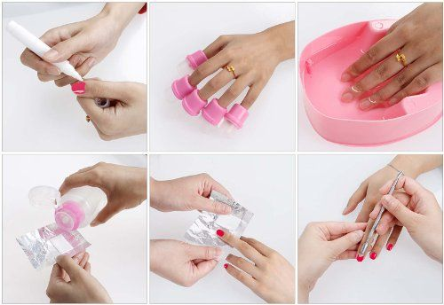 Bmc Gel Nail Polish Removal Kit Acetone Pump Bottle Soaking Bowl