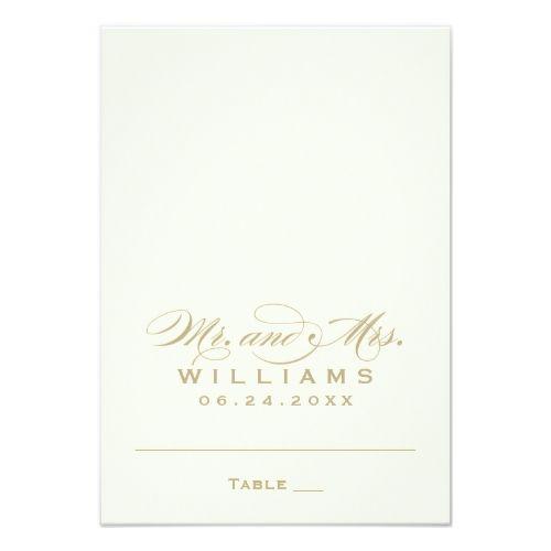 Monogram Wedding Reception Escort Place Card | Calligraphy Script Gold