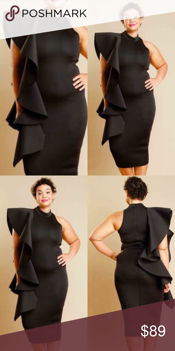Plus Size Cascade Casual Midi Dress Ruffle Dress Boutique My Posh