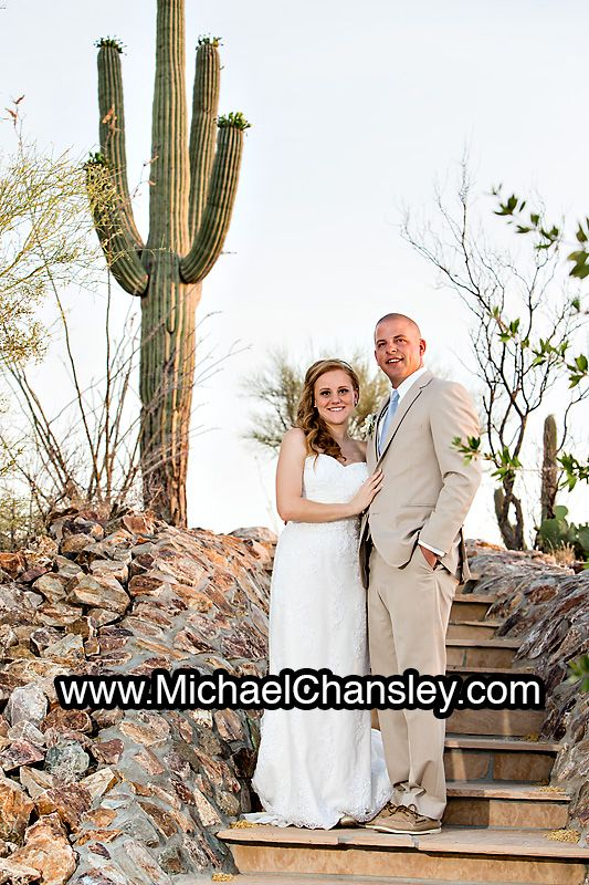 Bride And Groom Pose For A Portrait Photo At Saguaro Buttes Wedding Venue In Tucson AZ