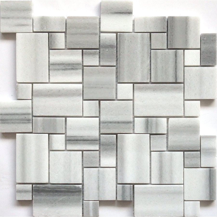 Accent Tile Faber 13 In Marble Mosaic Polished White And Black Natural Stone Wall Lowe S Canada