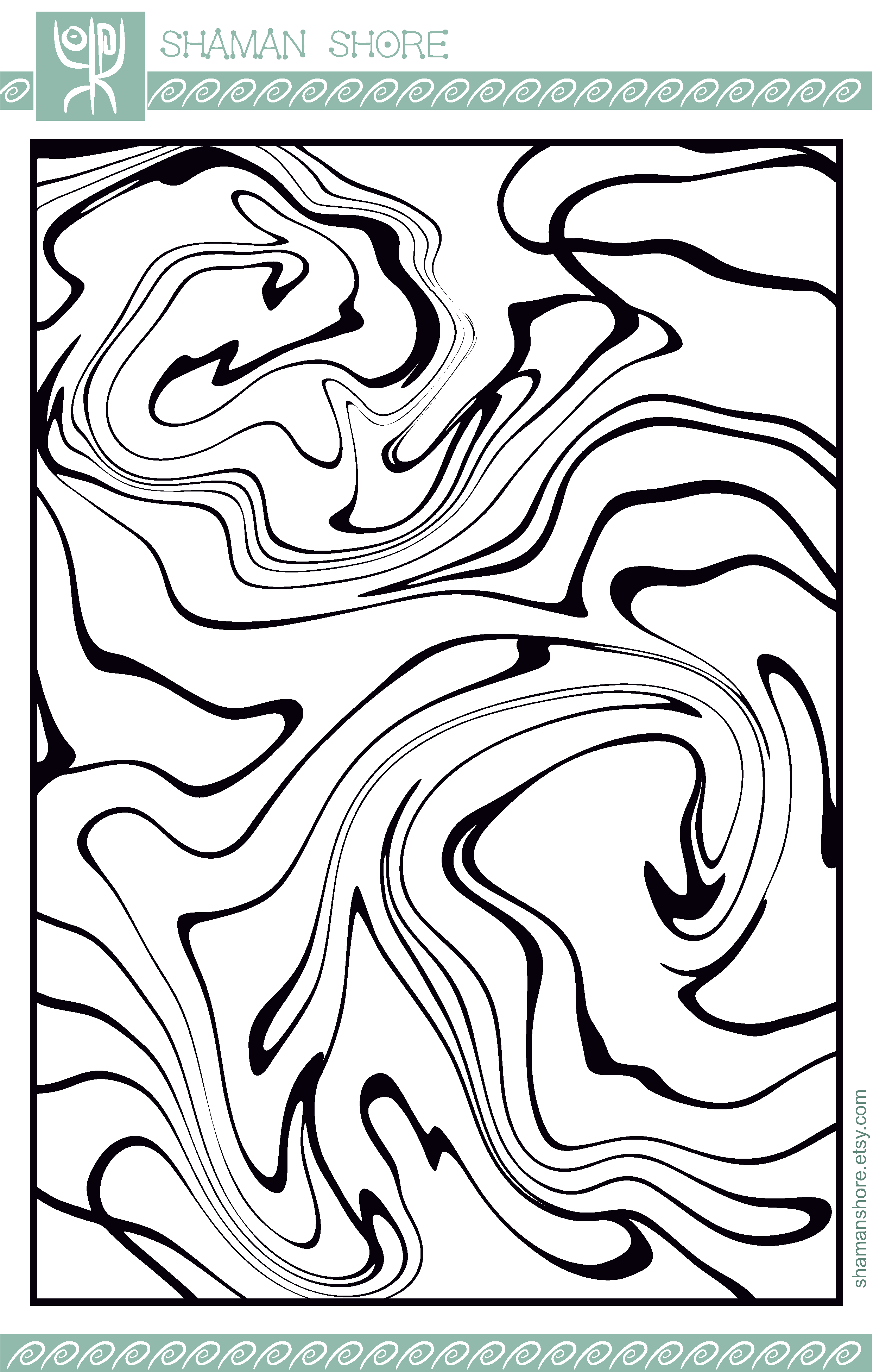 PDF Adult Coloring Book, Abstract Adult Digital Coloring