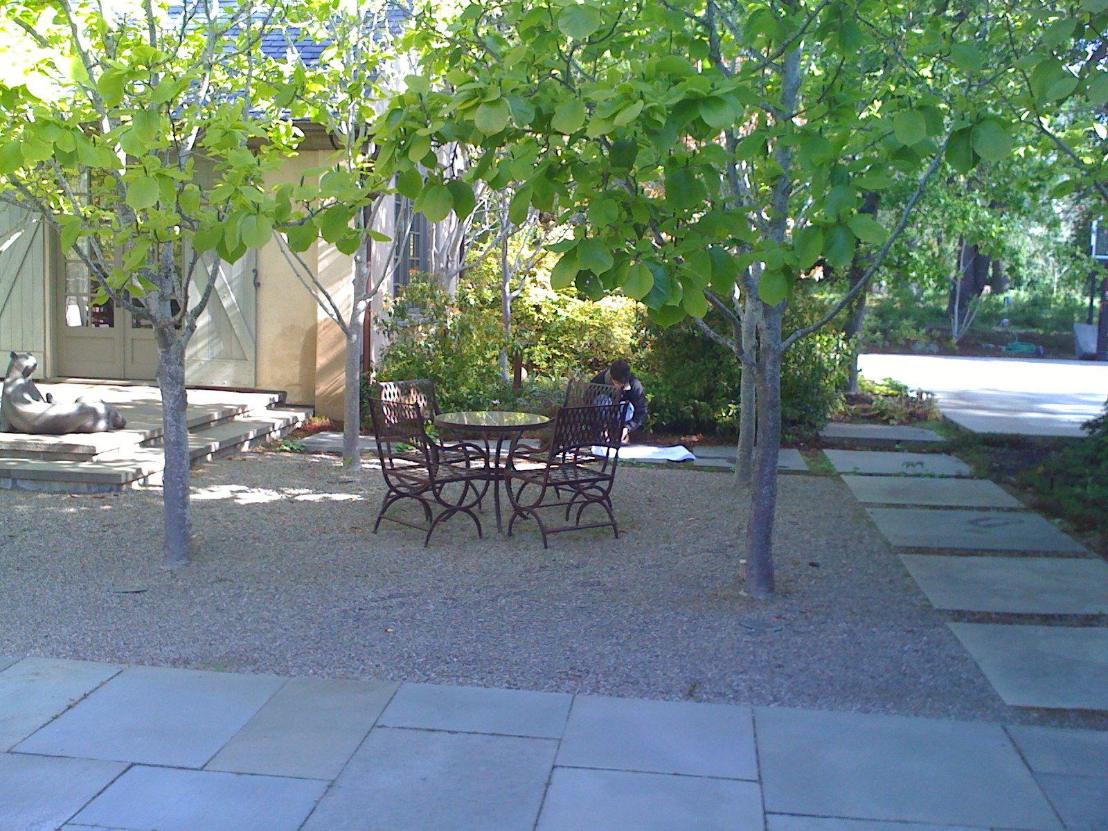 Large Bluestone Square Pavers as border around gravel ... on Square Paver Patio Ideas id=75189