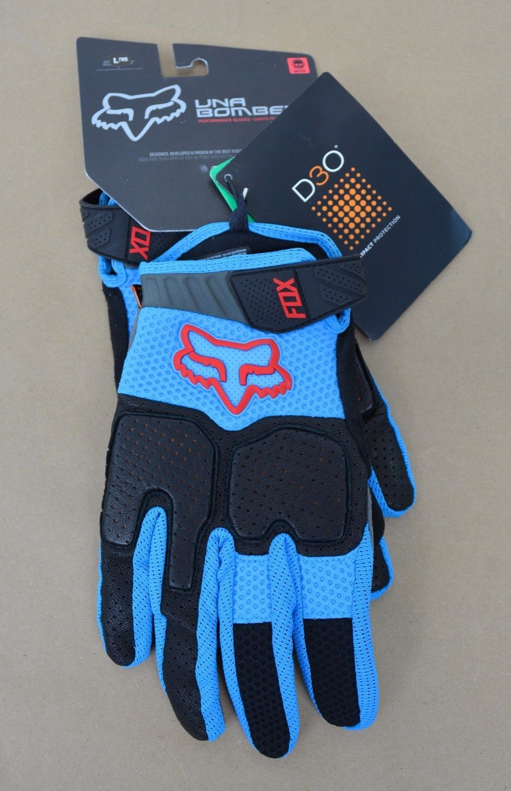 Gloves fox racing unabomber gloves mens large cyan ue buy