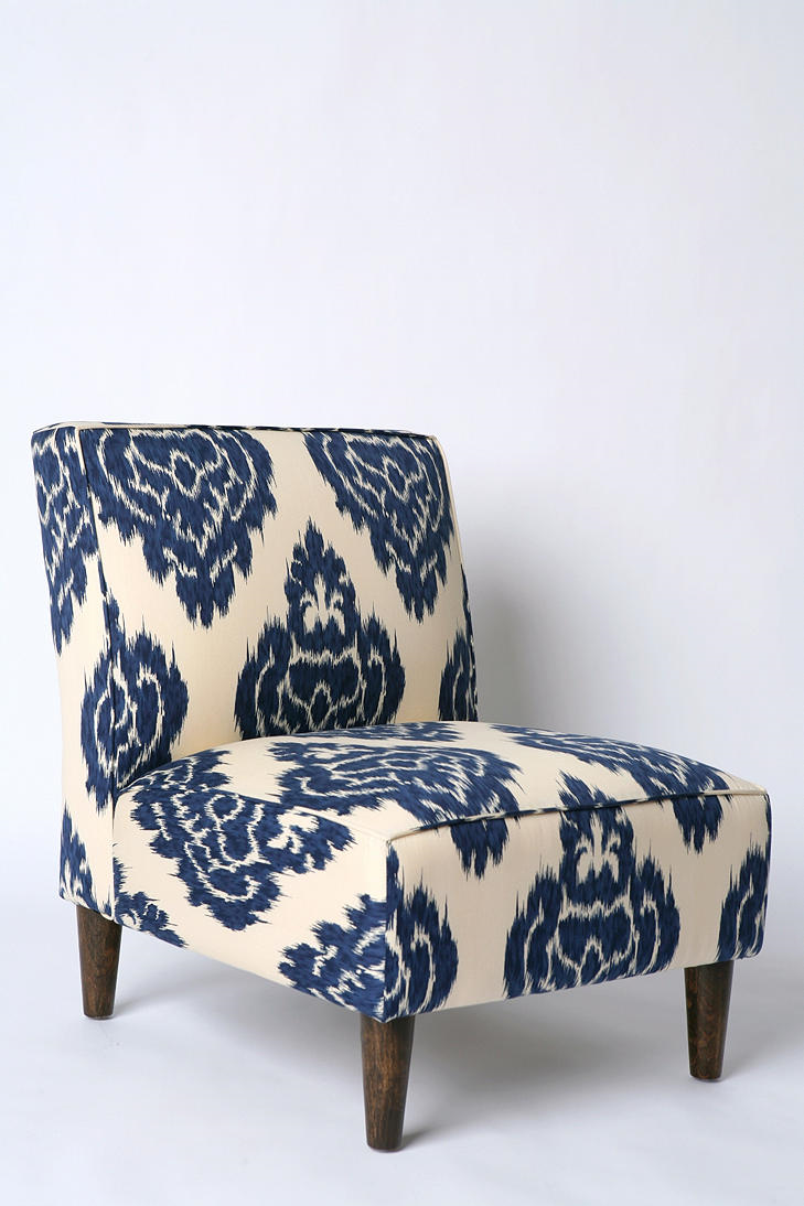 Turquoise ikat chair - Slipper Chair Indigo Ikat Like Fabric Pattern