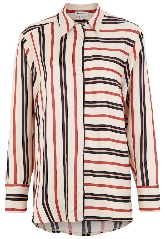 Studio Italy Bluse im Streifendesign in mischfarben #asymmetrischerschnitt