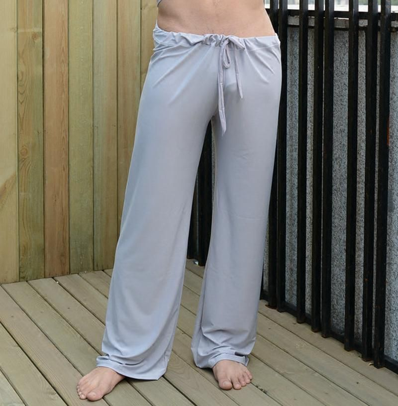60ef2f578eb mens pants mens sleep bottoms viscose home pants loose sexy mens lounge  pants milk silk fashion strap sexy male pajamas