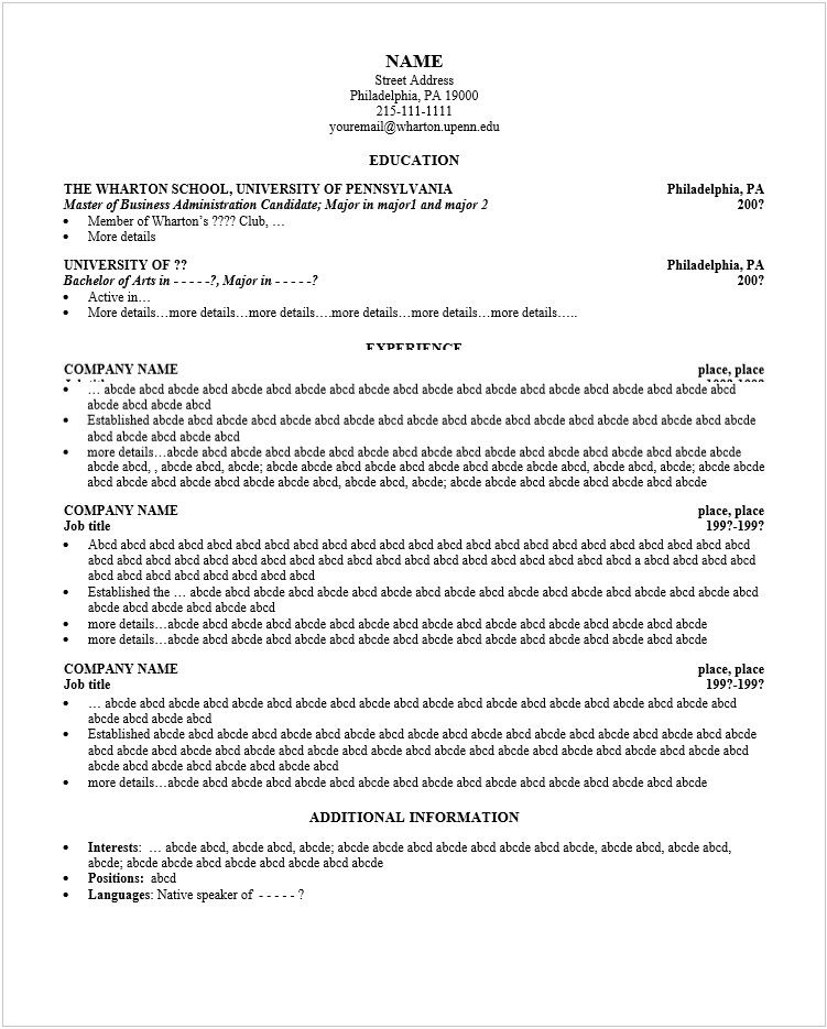 mba resume templates free word pdf psd harvard template sample harvard resume template - Arvard Resume Template