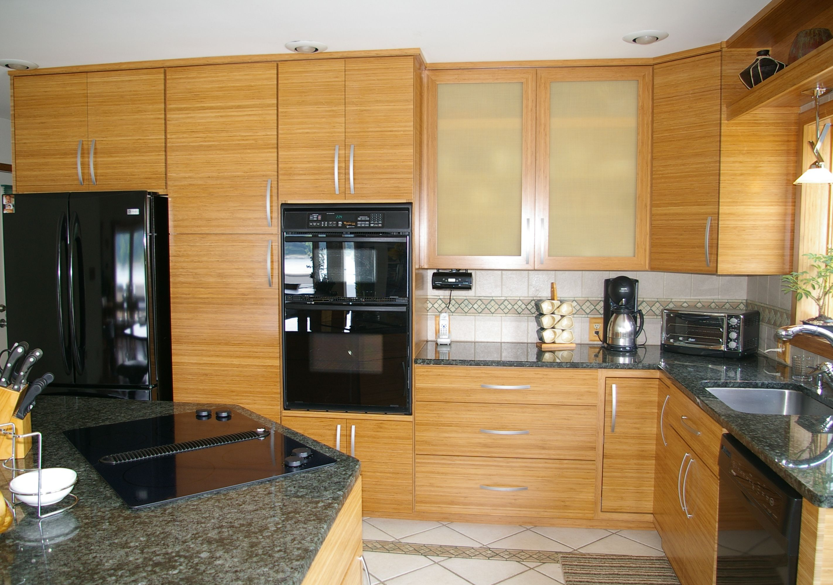 Bamboo Cabinets Love The Texture With Images Bamboo Kitchen Cabinets Kitchen Cabinets And Countertops