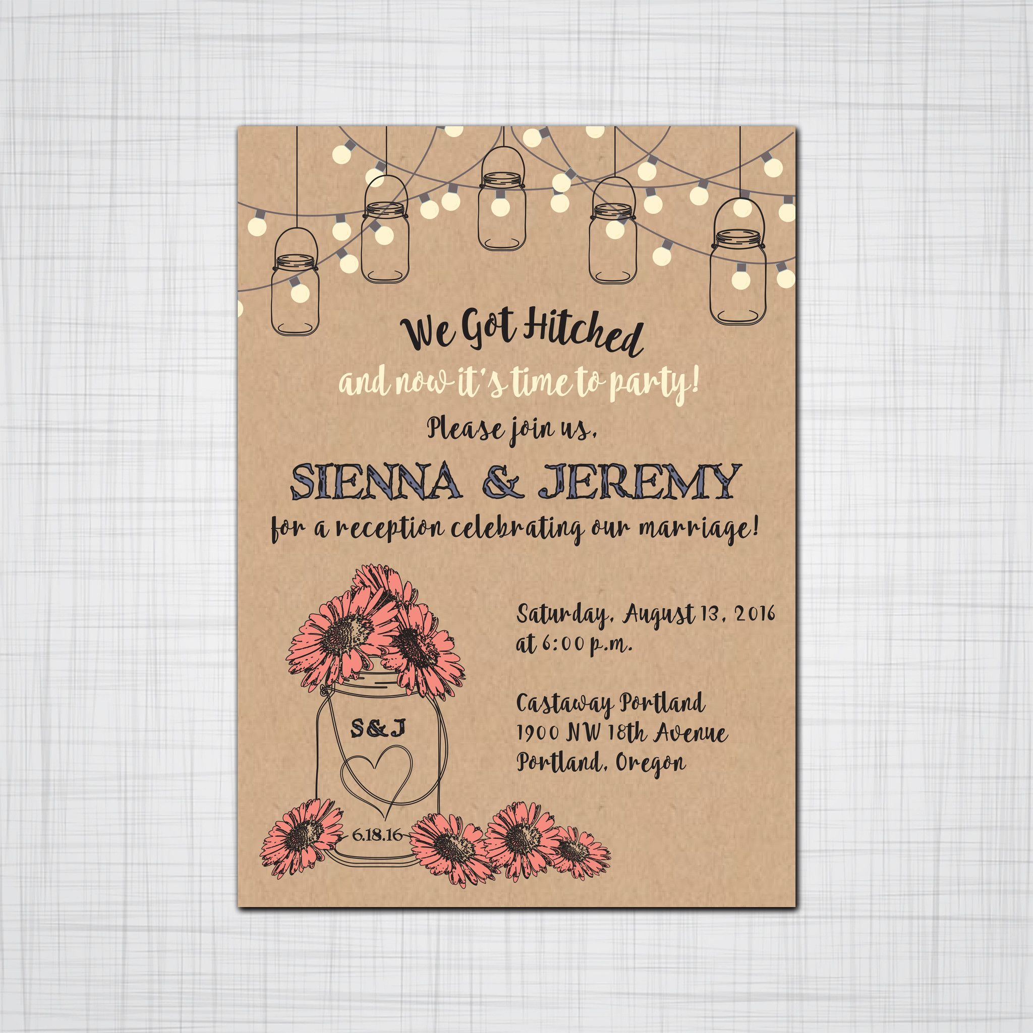 Customize This Fun Rustic Mason Jar With Daisies For An After The Wedding Invitation Set To