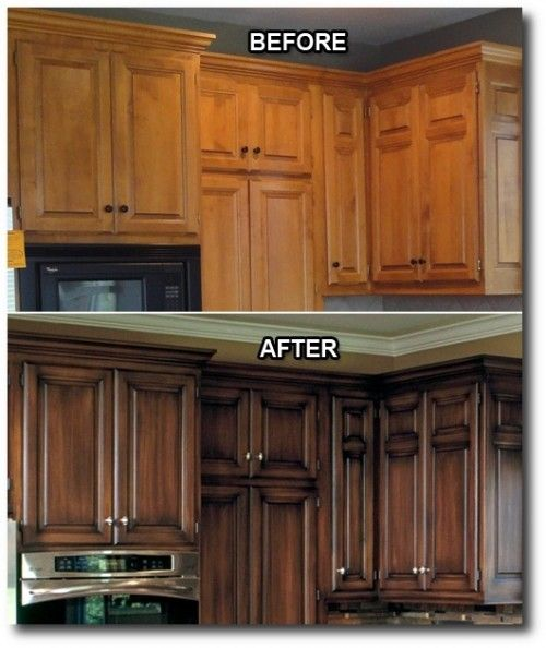 Kitchen updates i love that they did a dark stain with an for Black stained cabinets