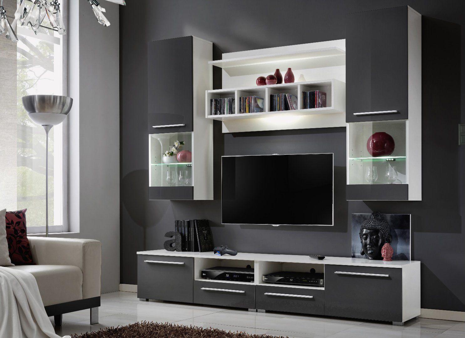 R Sultat De Recherche D Images Pour Combinaison Tv Rangement  # Meuble Tv Gris Blanc