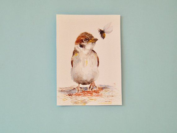 Young Eurasian Tree Sparrow Watercolor Painting Standard Post