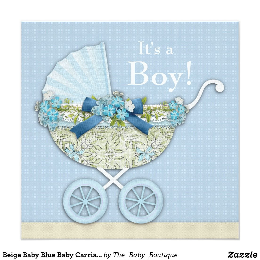 Beige Baby Blue Baby Carriage Boy Shower 5.25x5.25 Square Paper Invitation Card