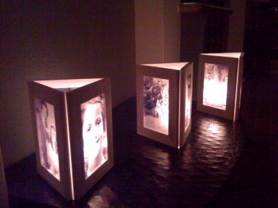 DIY photo frame luminary centerpieces (could also use sides for table numbers/menu list etc) - also maybe flip horizontal?