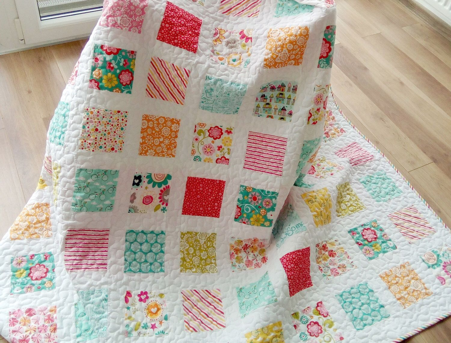 cats market for homemade colorful il etsy quilts cat quilt kids