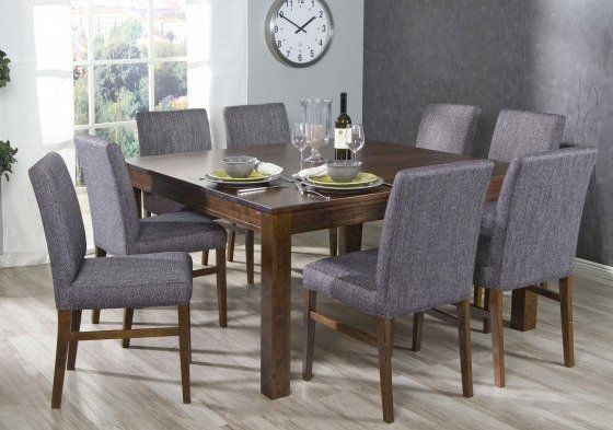 NEVADA ruokapöytä (140x140CM) JA 6 LUNA verholtua tuolia (HR2) tumma pähkinä