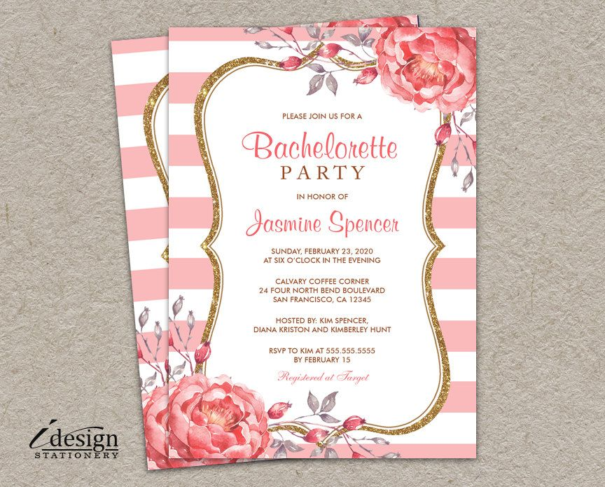 Bachelorette Party Invitation | Printable Pink White Stripe Gold ...