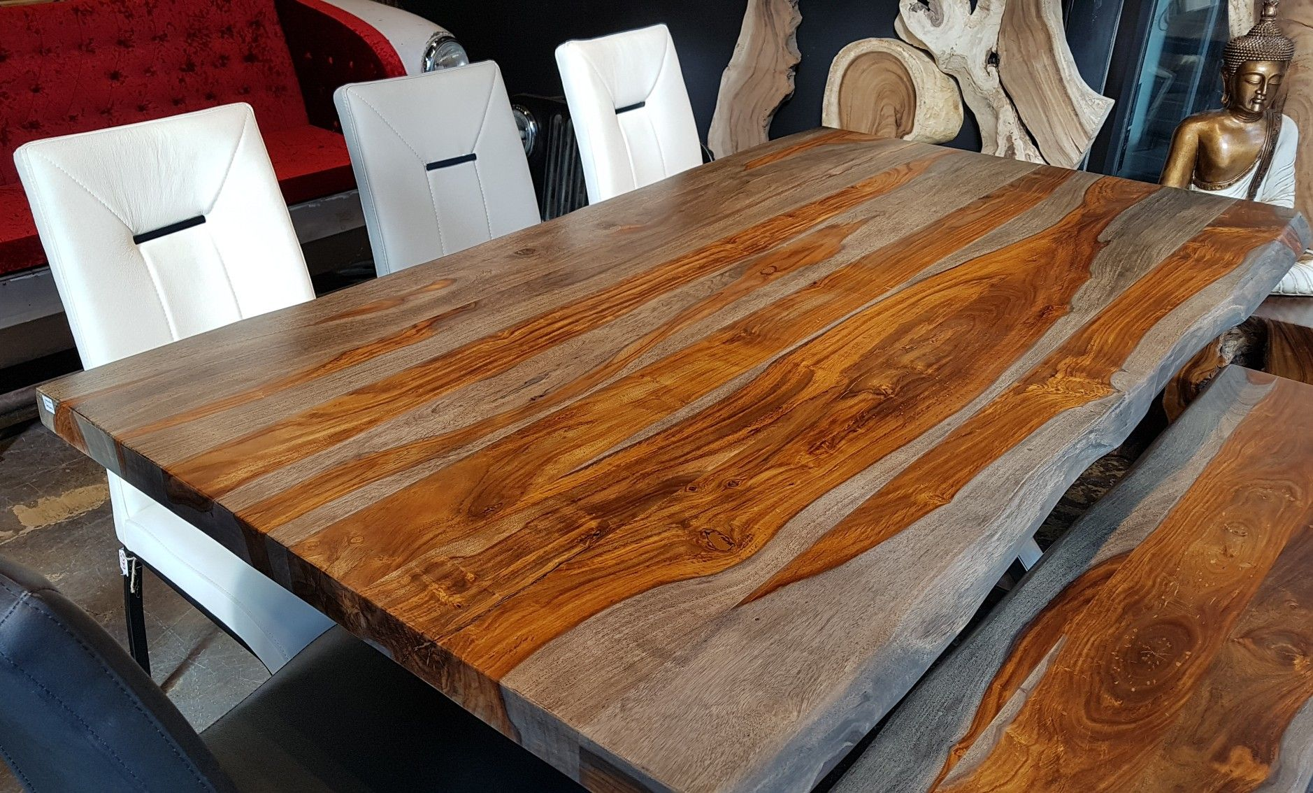 Bois de rose (Rosewood) gris table à manger live edge  Rustic
