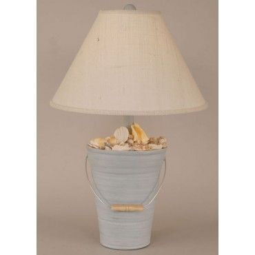 Beach Cottage Blue Shell Beach Bucket Lamp....wonder if I could DIY for less than the 179 this lamp is listed!