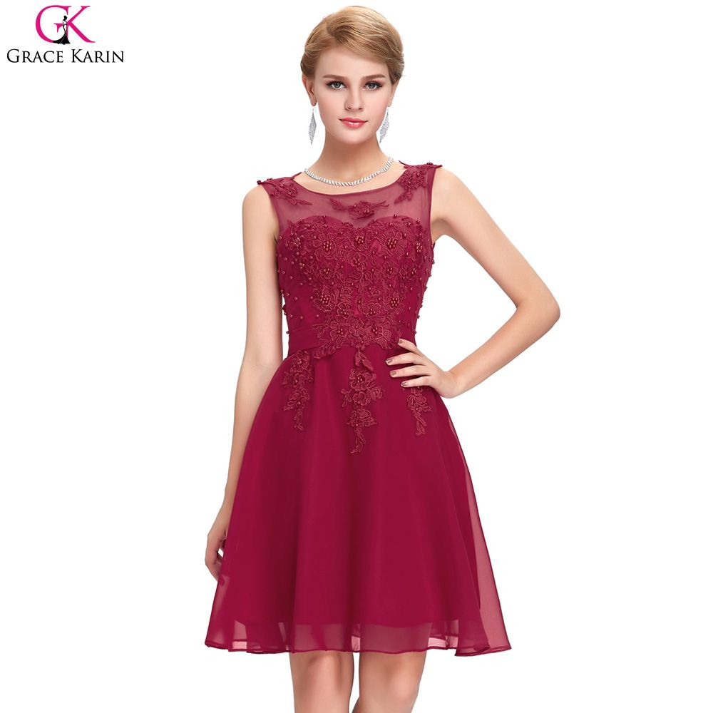 c3bd232cd54 Grace Karin Cocktail Dresses Pink Chiffon Backless Appliques Sleeveless  Short Formal Gowns Elegant Cocktail Wedding Party Dress