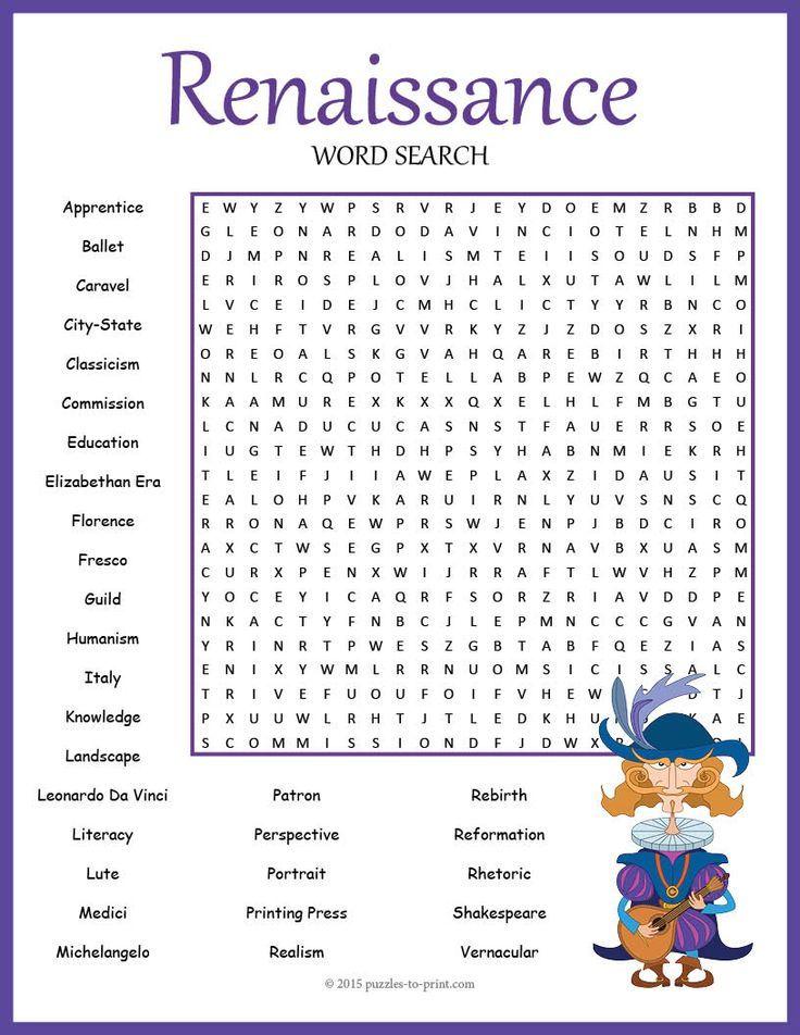 No Prep Renaissance Word Search Puzzle